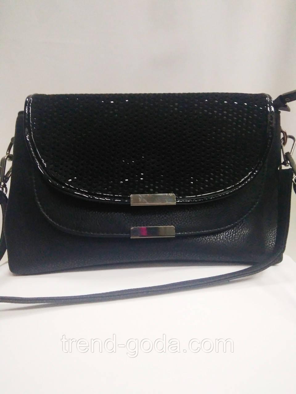 Модная маленькая женская сумка. Сумка клатч женская через плечо/черная/Сумки