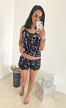 """Велюровый женский комплект-пижама в цветочек """"SIVONA F"""" с кружевом, фото 2"""