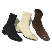 Ботильоны-носок  на квадратном каблучке, 3 цвета