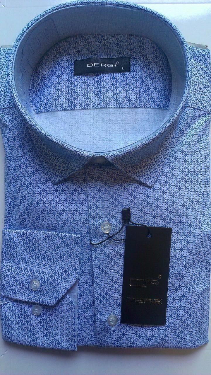 Чоловіча сорочка з довгим рукавом приталені DERGI, код 3125-1