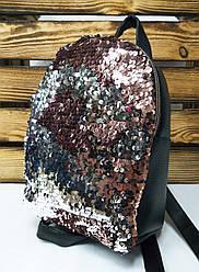 Рюкзак с розовыми паетками и материалом из искусственной кожи черного цвета