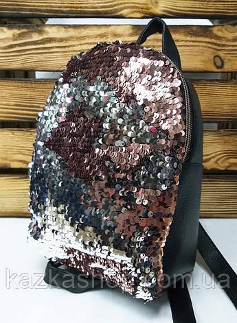 Рюкзак с розовыми паетками и материалом из искусственной кожи черного цвета, фото 2