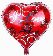 """Шар фольгированный сердце """"I Love You"""" Розы. Размер: 43см*48см."""