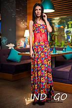 Платье длинное цветы штапель и гипюр