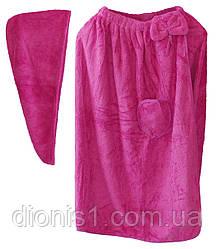 Сауна - Полотенце - Халат на липучке с шапочкой (чалма) микрофибра 5 расцветок в упаковке (женск)
