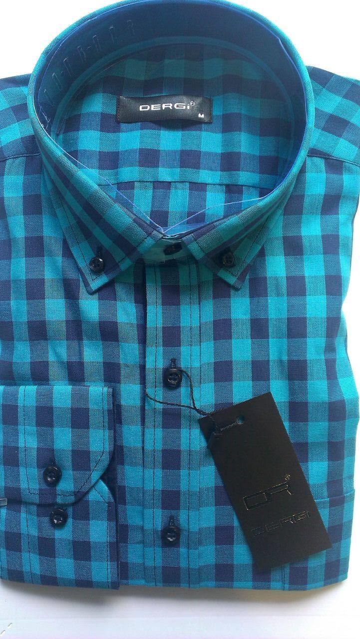 Мужская рубашка с длинным рукавом приталенная DERGI, код 3165-2