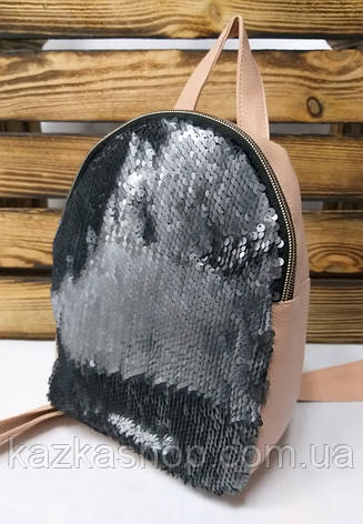 Рюкзак с черными паетками и материалом из искусственной кожи цвета пудра, фото 2