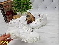 Хайтопы Сникерсы 37,38,39 размеры демисезонные белые фила К774, фото 1