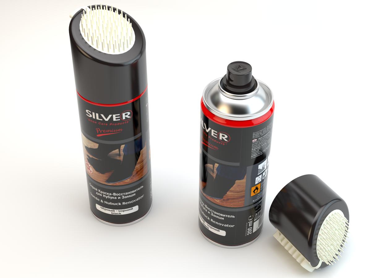 Сильвер Silver Спрей краска-восстановитель для замши, для нубука, коричневый, 300мл