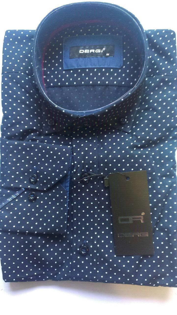 Мужская рубашка с длинным рукавом приталенная DERGI, код 5203-1