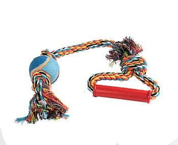 Игрушка канат-грейфер для собак FOX для бросания пластиковыми ручками с теннисным мячом, 50 см