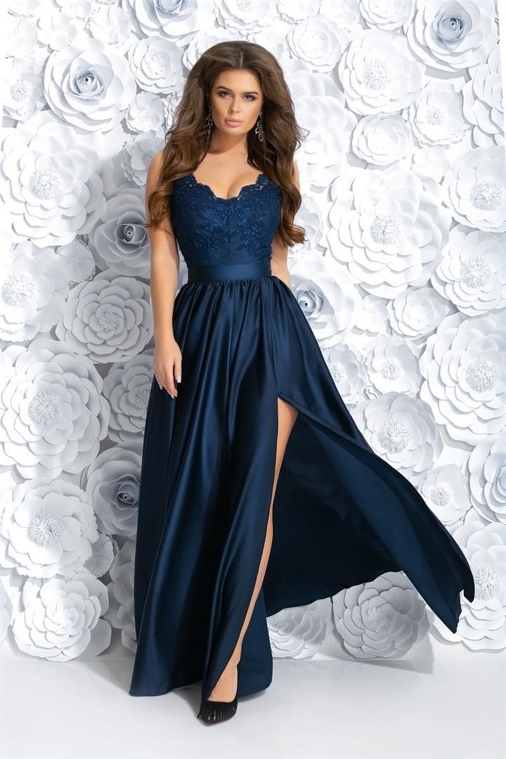 """Длинное шелковое платье на бретельках """"RIADELLA"""" с вышивкой и разрезом (4 цвета)"""