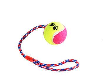 Игрушка канат-грейфер для собак FOX для бросания с резиновым мячом, 38 см