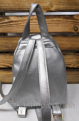 Рюкзак с зелеными паетками и материалом из искусственной кожи серебряного цвета, фото 2