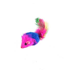 Игрушка для кошек Мышь-погремушка с пером сине-красная из натурального меха, 24 шт. в упаковке
