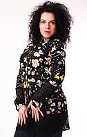 Туника женская черная с принтом цветов, украшена кружевом, 44,46,50 размеры, фото 1