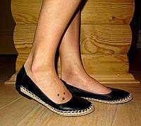 Балетки, эспадрильи черные кожаные с плетенным кантиком