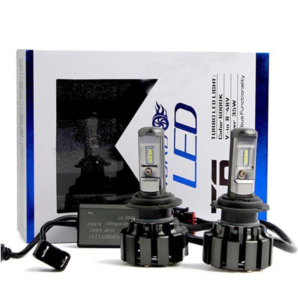 Комплект светодиодных дальний/ближний Led ламп Xenon T6-H7 Ксенон Turbo Led температура 6000 к