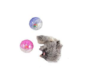 Набор игрушек для кошек, 2 пластиковых шара и меховая мышь