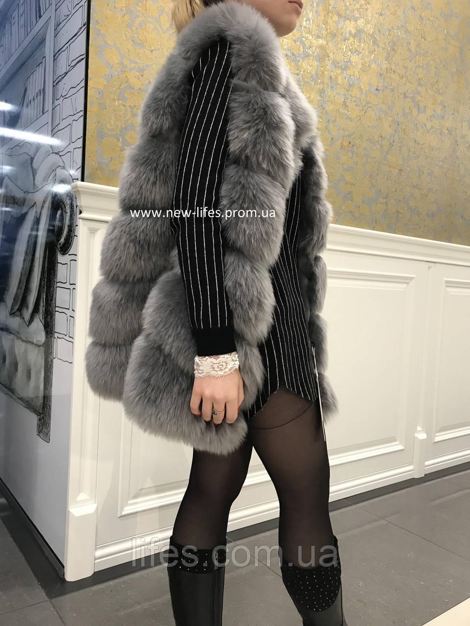 Меховая шуба жилетка Эрика искусственный эко - мех лисы XL