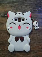 Объемный 3d чехол для Samsung J7 Neo Galaxy J701 Кошечка белая