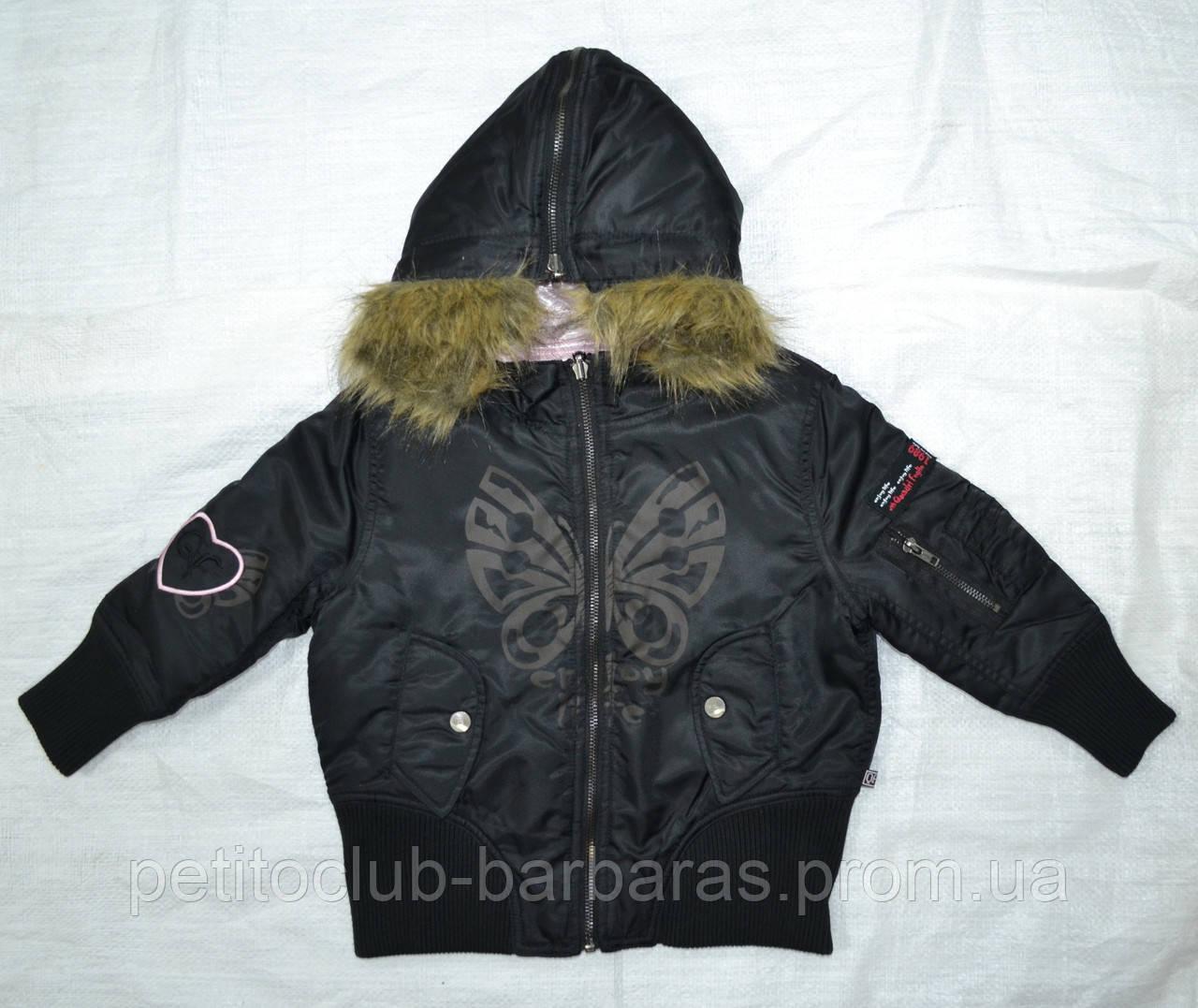 Демисезонная куртка-бомбер 2-сторонняя для девочки черн/роз (Quadrifoglio, Польша)