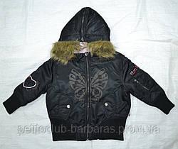 Куртка демисезонная 2-сторонняя для девочки черн/роз (Quadrifoglio, Польша)