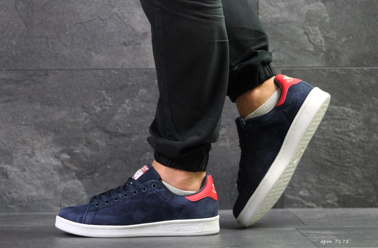 Мужские кроссовки Adidas Stan Smith (сине-белые)