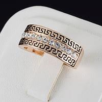 Яркое кольцо с кристаллами Swarovski, покрытие золото 0570