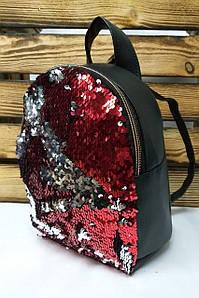 Рюкзак с красными паетками и искусственной кожей черного цвета, на один отдел