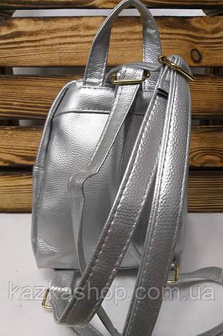 Рюкзак с серебряными блестками, паетками розового цвета и искусственной кожей серебряного цвета, фото 2