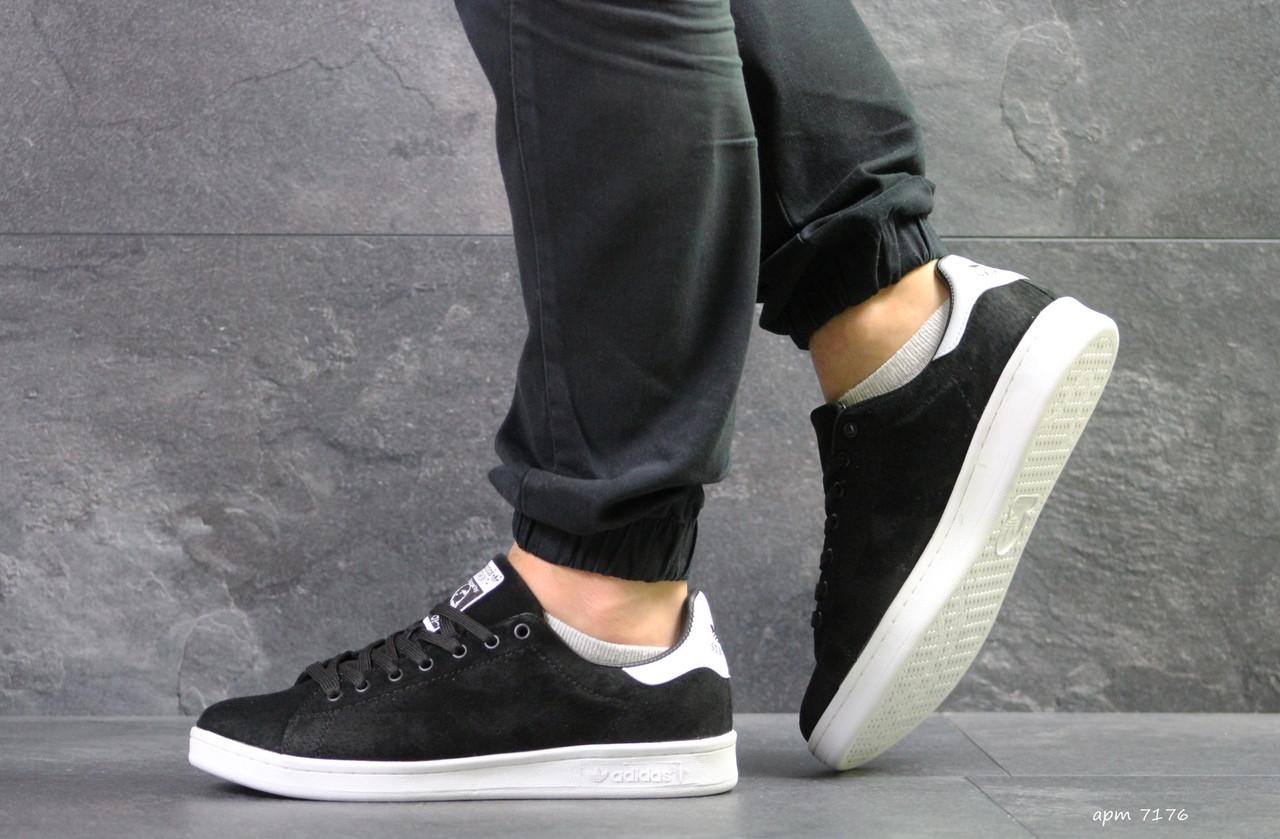 Мужские кроссовки Adidas Stan Smith (черно-белые)