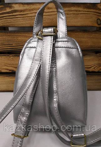 Рюкзак с серебряными блестками, паетками красного цвета и искусственной кожей серебряного цвета, фото 2