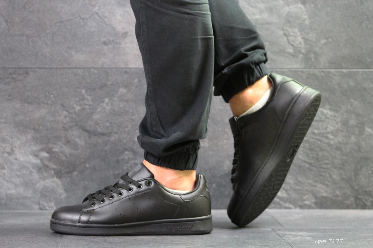 Мужские кроссовки Adidas Stan Smith (черные)
