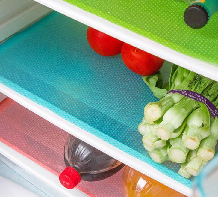 Антибактериальный коврик для холодильника ( набор 4 шт) розовый