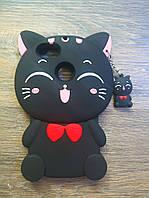Объемный 3d силиконовый чехол для Huawei Nova Lite 2017 Кошечка черная