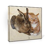 Картина. Печать на холсте. Кролик и кот. Репродукция.