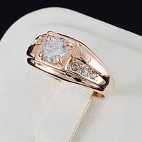 Интересное мужское кольцо с кристаллами Swarovski, покрытое золотом 0581
