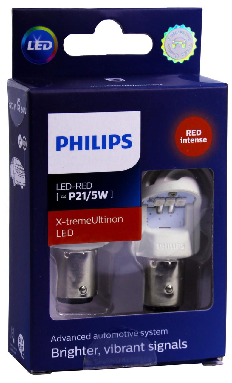 Автолампа диодная Philips X-treme Ultinon LED 11499XURX2, 2 шт, 1157, BA15S, P21/5W, цвет свечения красный