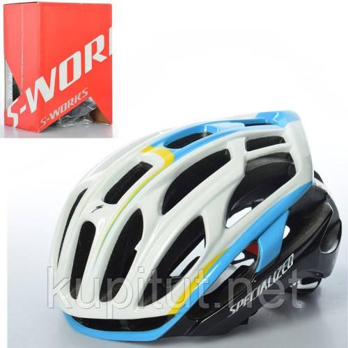 Шлем S-WORKS AS180072-1, взрослый, защитный, размер регулируется, бело-голубой