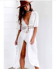 Пляжный белый халат средней длины - S (бюст 84см, талия 65см, длина 120см)