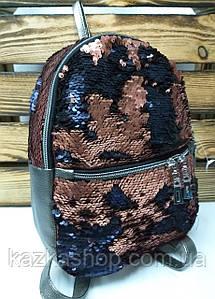 Рюкзак с медными паетками и искусственной кожей серого цвета