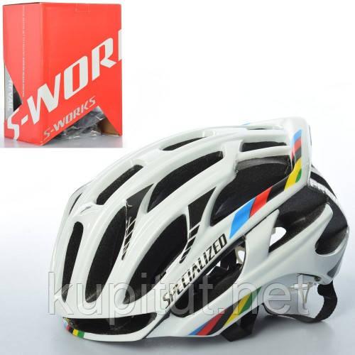 Шлем S-WORKS AS180072-4, взрослый, защитный, размер регулируется, белый