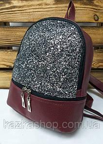 Рюкзак с серебристы блестками, на один отдел из искусственной бордового цвета