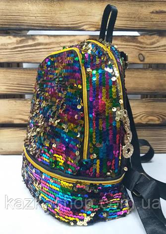 Рюкзак с радужными паетками, на один отдел, материал голограмма, фото 2