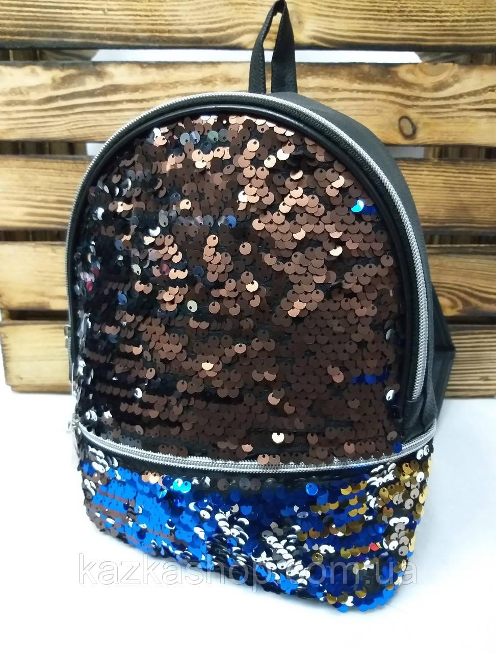 Рюкзак с разноцветными паетками, один отдела, материал кожзам черного цвета
