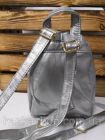 Рюкзак с розовыми паетками, один отдела, материал кожзам серебряного цвета, фото 2