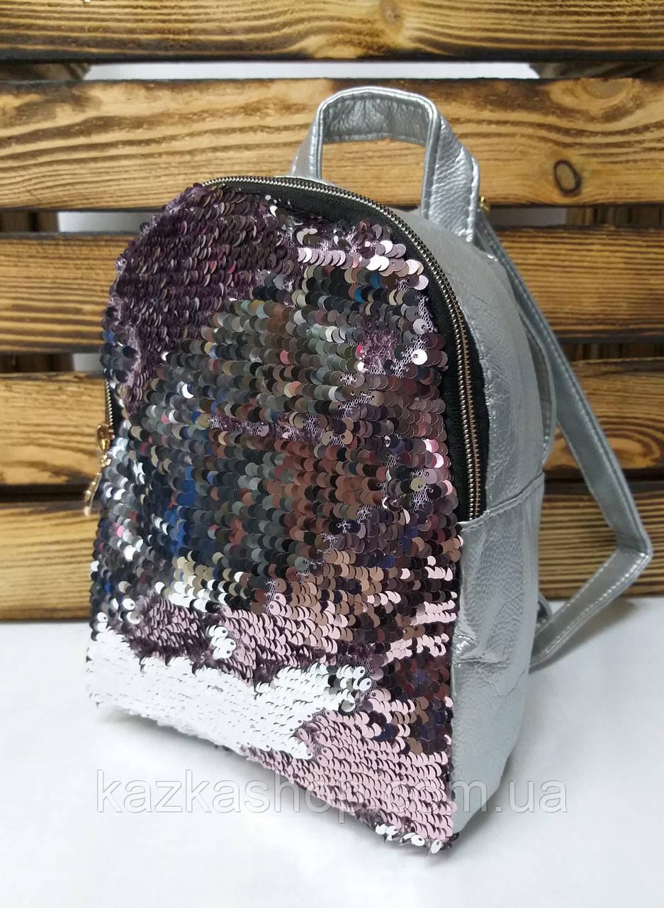 Рюкзак с розовыми паетками, один отдела, материал кожзам серебряного цвета