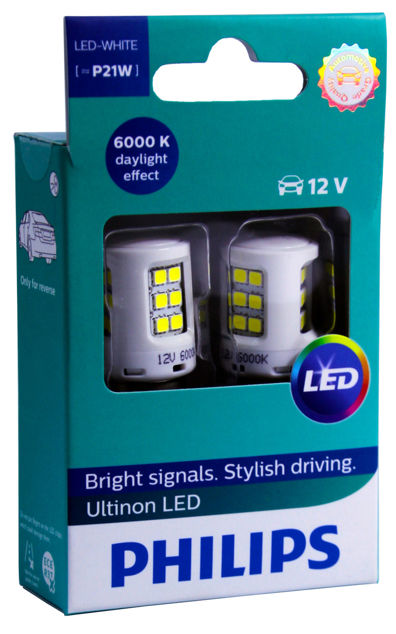 Автолампа диодная Philips Ultinon LED 11498ULWX2, 2 шт, 1156, BA15S, P21W, цвет свечения белый