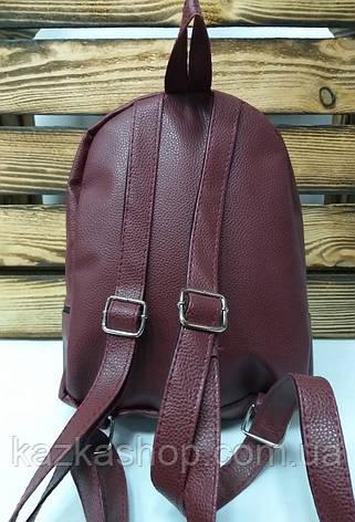 Рюкзак с серебряными блестками, битое стекло, глитер, один отдела, материал кожзам бордового цвета, фото 2